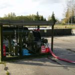 Airfields refueling pumps, flexible fuel tank and containment tank