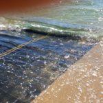 Beach access mat in tidal zone