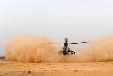 Helicopter landing mats in desert