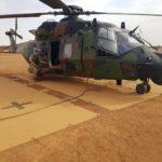 Mobile helicopter landing pad in desert
